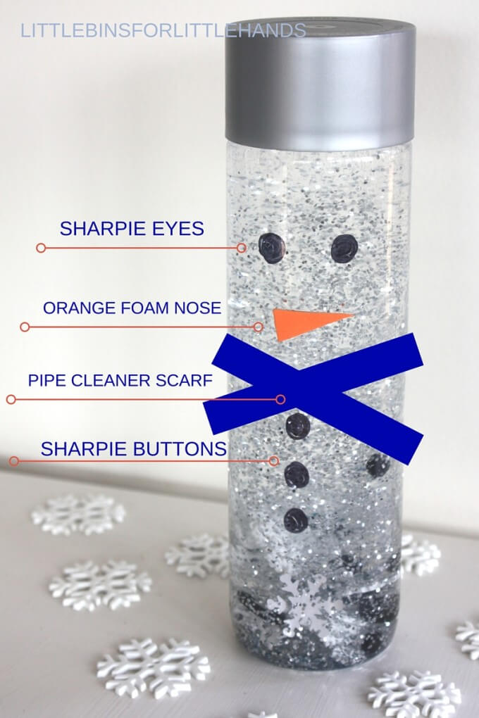 Making a snowman sensory bottle for a winter activity.