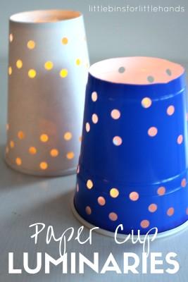 Paper Cup Luminaries for Winter Solstice or Summer Solstice Kids Activities