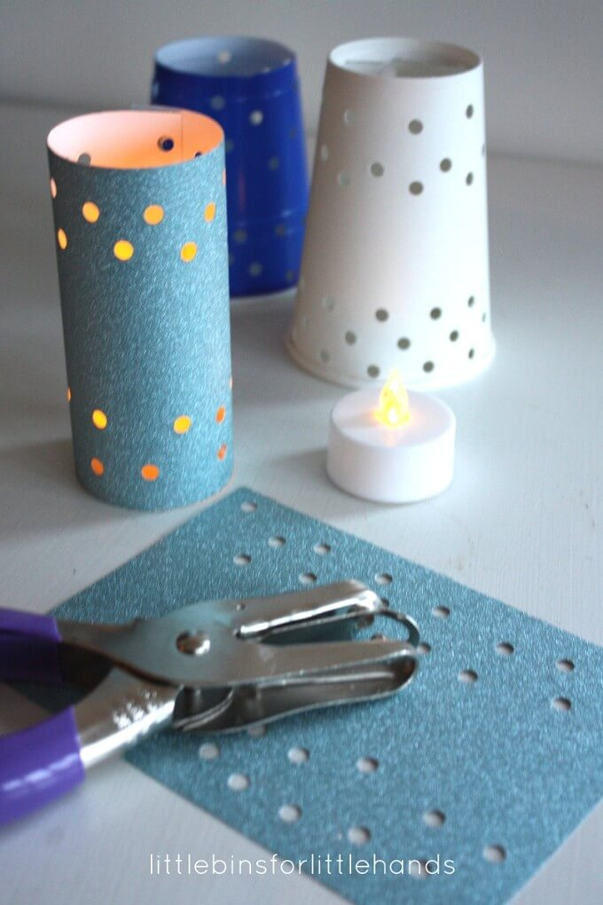 Paper Cup Luminaries with Flameless Tea lights for Kids Winter Solstice Activity