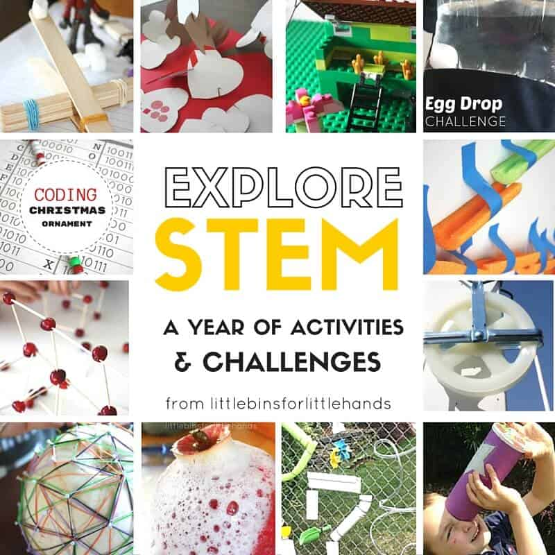 I started this BEST OF STEM ACTIVITIES post tow years ago, and thought I would update it with more great ideas for each month. This past year we have been enjoying even more STEM and STEAM activities. These awesomeSTEM activities are perfect for young kids to get started with the idea of STEM. Bring more science and STEM into your year.