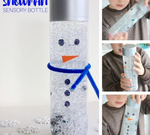 Snowman Sensory Bottle Winter Activity for Kids