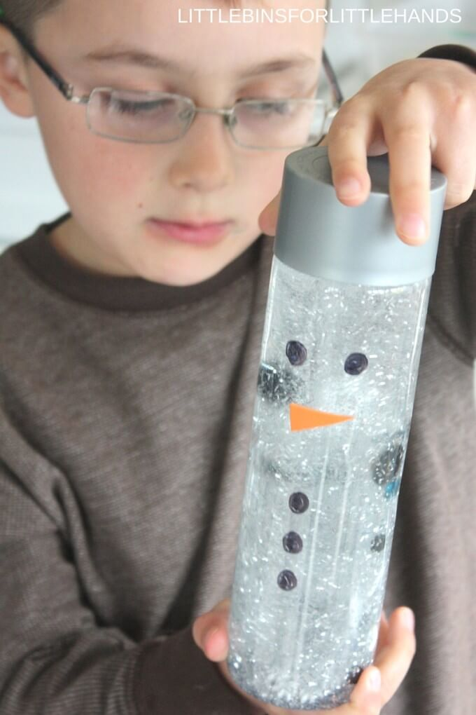 Snowman sensory bottle or maelting snowman activity for kids