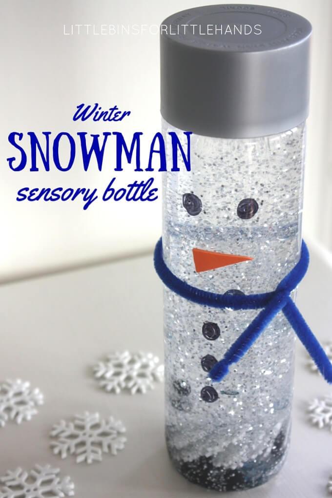 Snowman sensory bottle or melting snowman activity