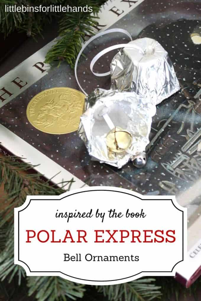 Tin foil bell ornament Polar Express ornament book activity Christmas