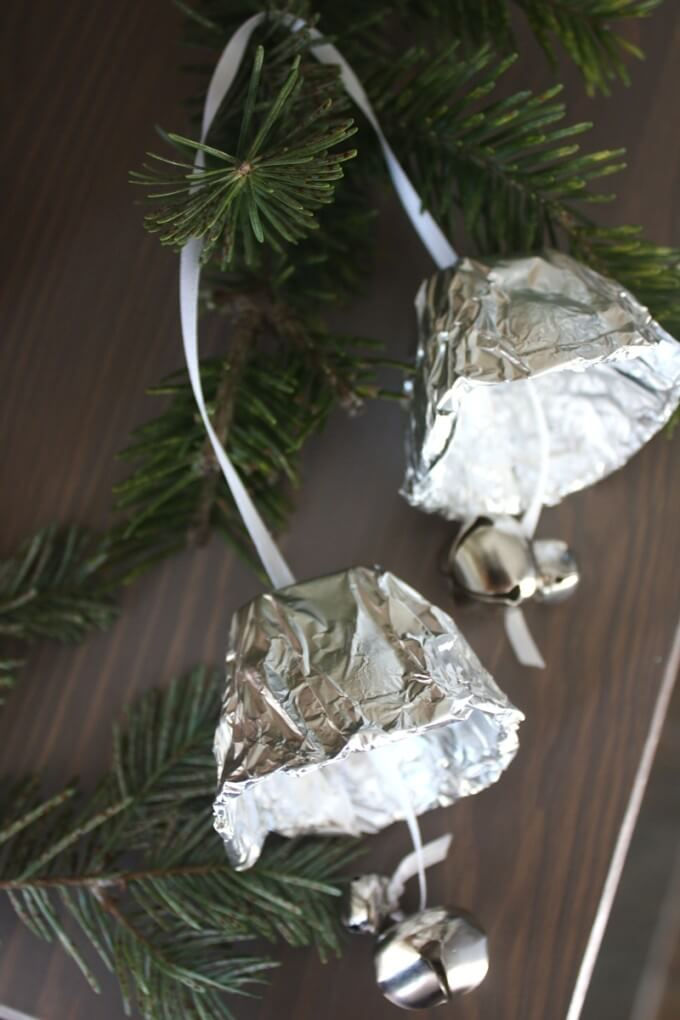 Tin foil bell ornament kid made Christmas ornament