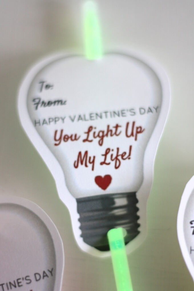 Candy Free Glow Stick Valentine's Day Cards for Kids