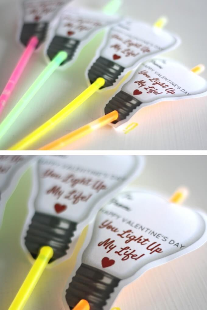 Printable Glow Stick Valentine Day Cards for Kids To Make