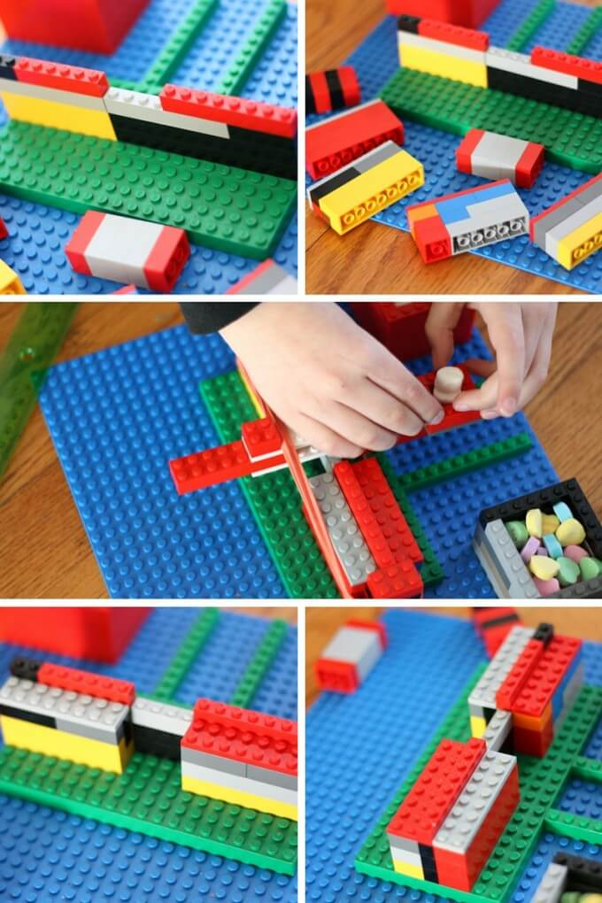Building the easy LEGO catapult base with basic bricks for awesome STEM