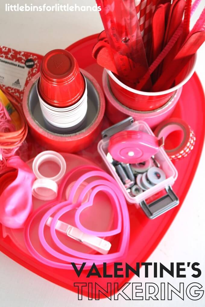 Dollar Store Valentines Day Tinker Tray for Engineering and Inventing