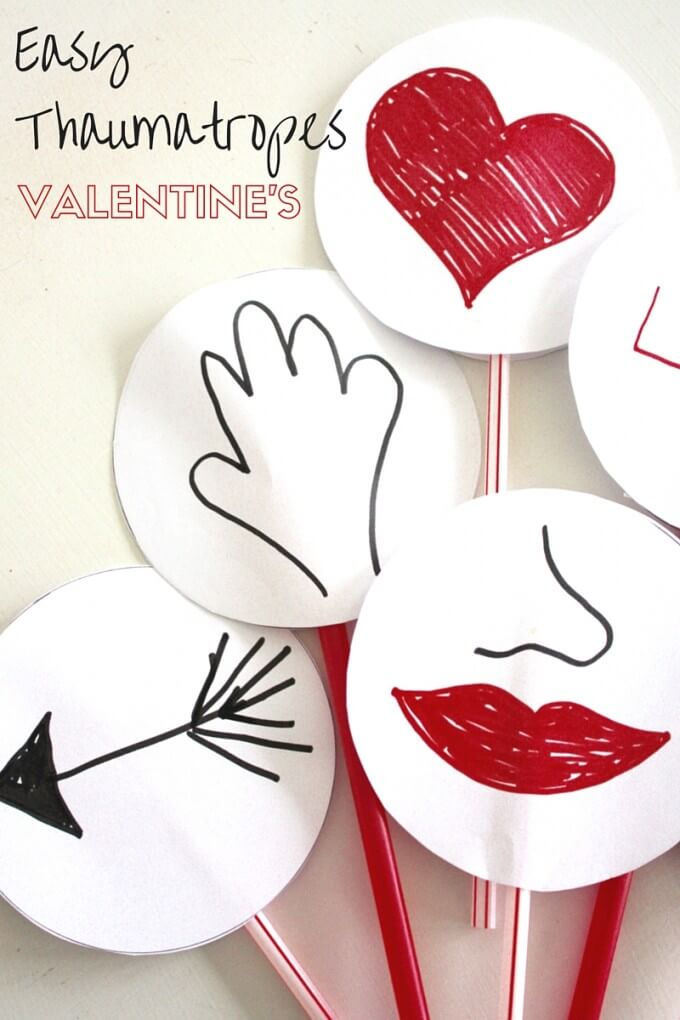 Easy Valentines Thaumatropes STEAM Activity for kids