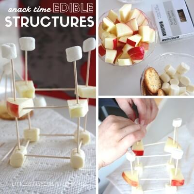 edible engineering science for kids with snack time structures.