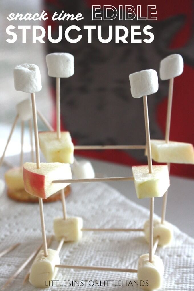 Edible structures snack time STEM activity for little engineers