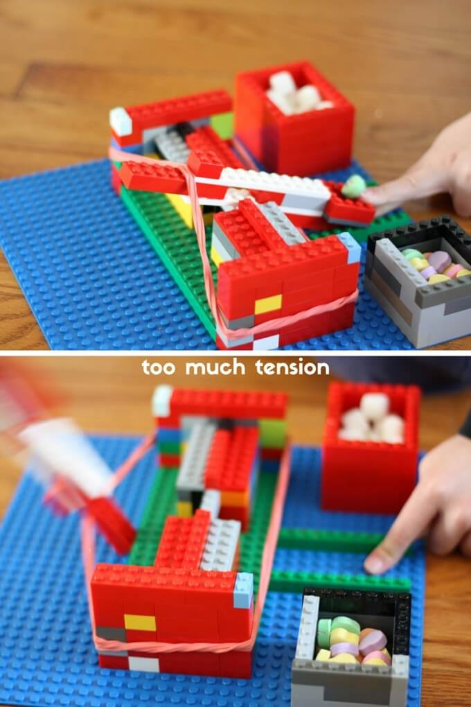Exploring too much tension with our easy LEGO catapult and physics activity