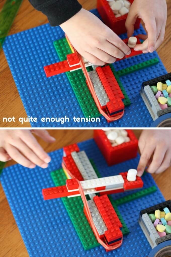 Exploring too little tension with our easy LEGO catapult for kids physics