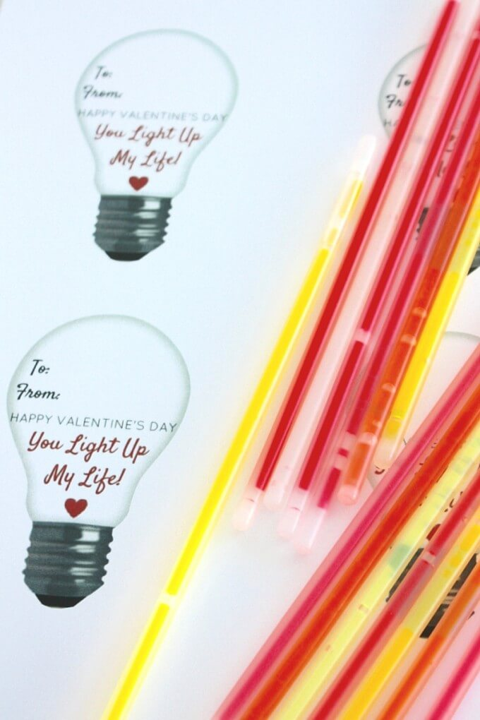 Glow Stick Valentine printable template and glow stick supplies