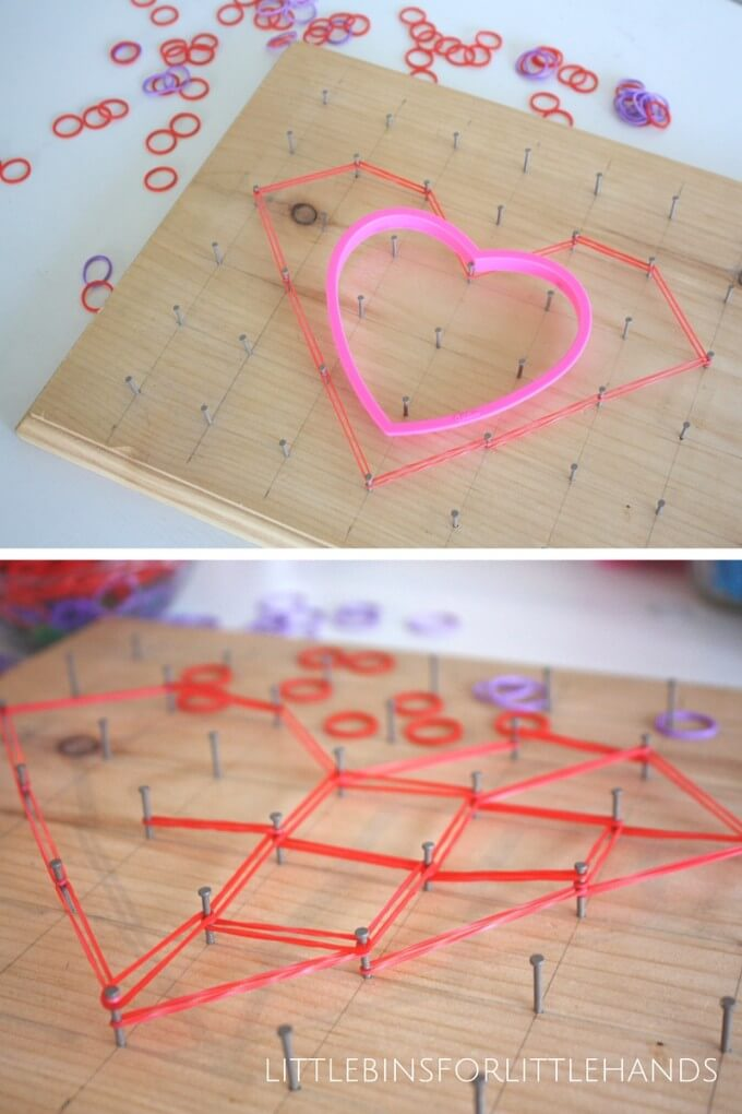 Heart Geoboard with Loom Bands for Math Activity