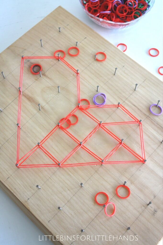 Homemade Geoboard Math Activity Heart Shape