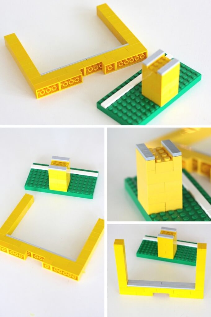 How to build LEGO goal posts for DIY paper football game