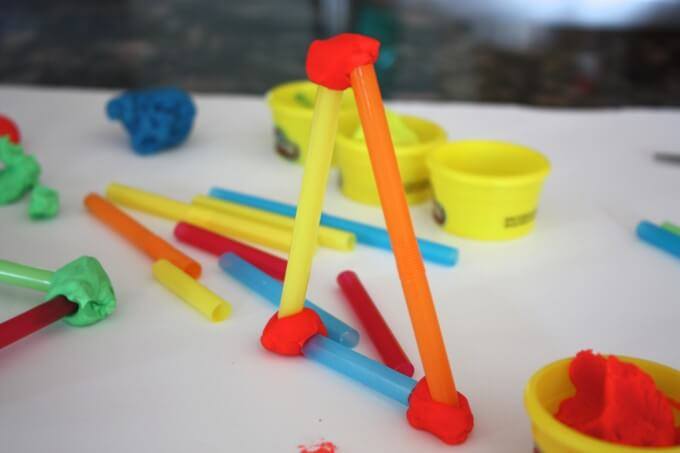 Building shapes with straws and play dough