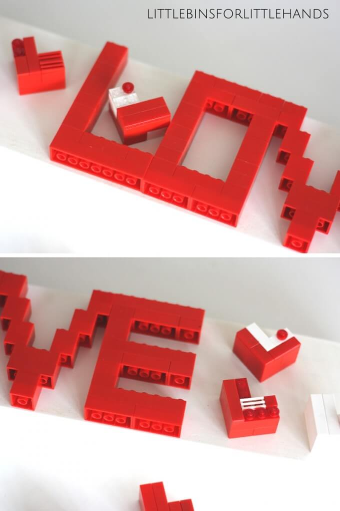 LEGO Valentines Day LOVE letters building idea
