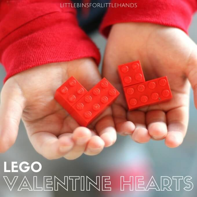 Heart in the hand LEGO mini hearts for kids