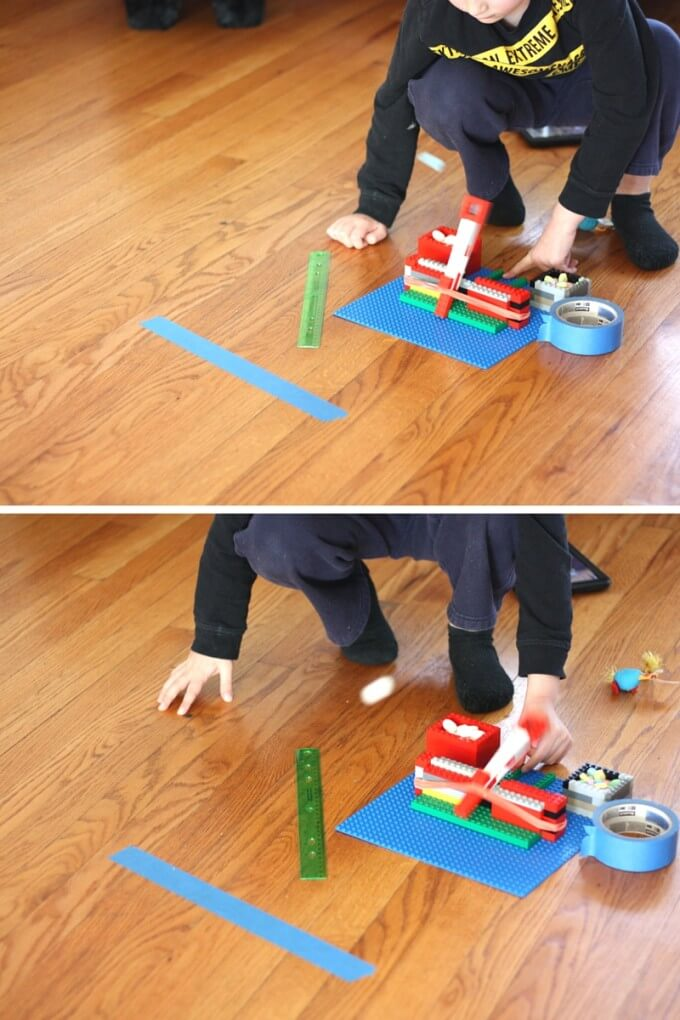 Launching marshmallows with our easy LEGO catapult and STEM activity