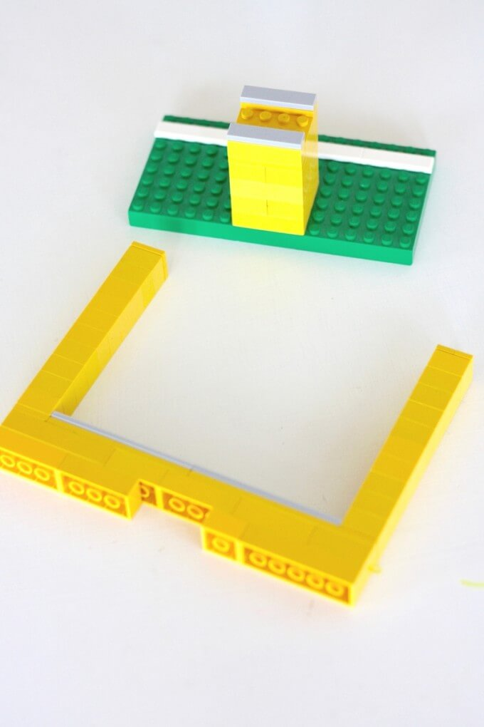 Make LEGO goal post for a paper football game