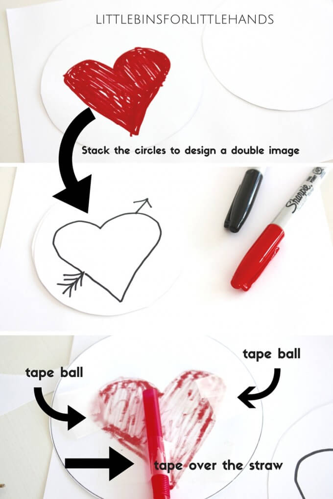 Make easy Valentines thaumatrope kids STEAM activity
