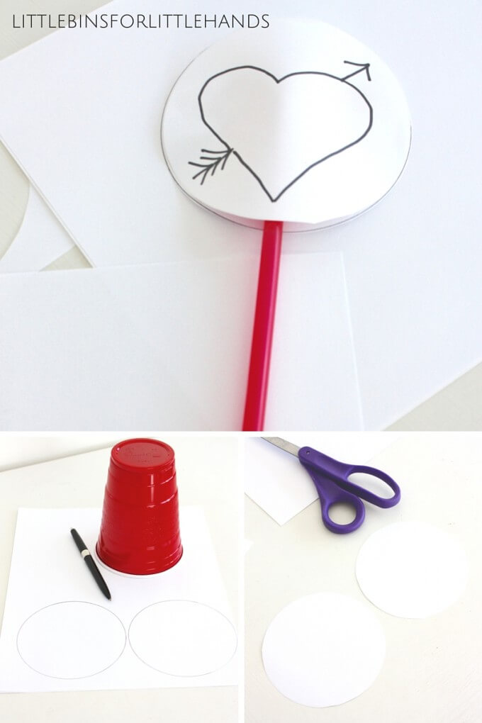 Making simple Valentines thaumatropes STEAM activity