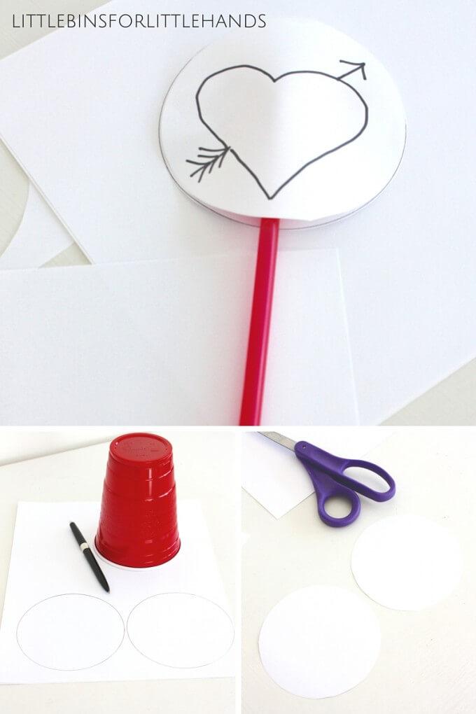 Making simple Valentines thaumatropes STEAM activity