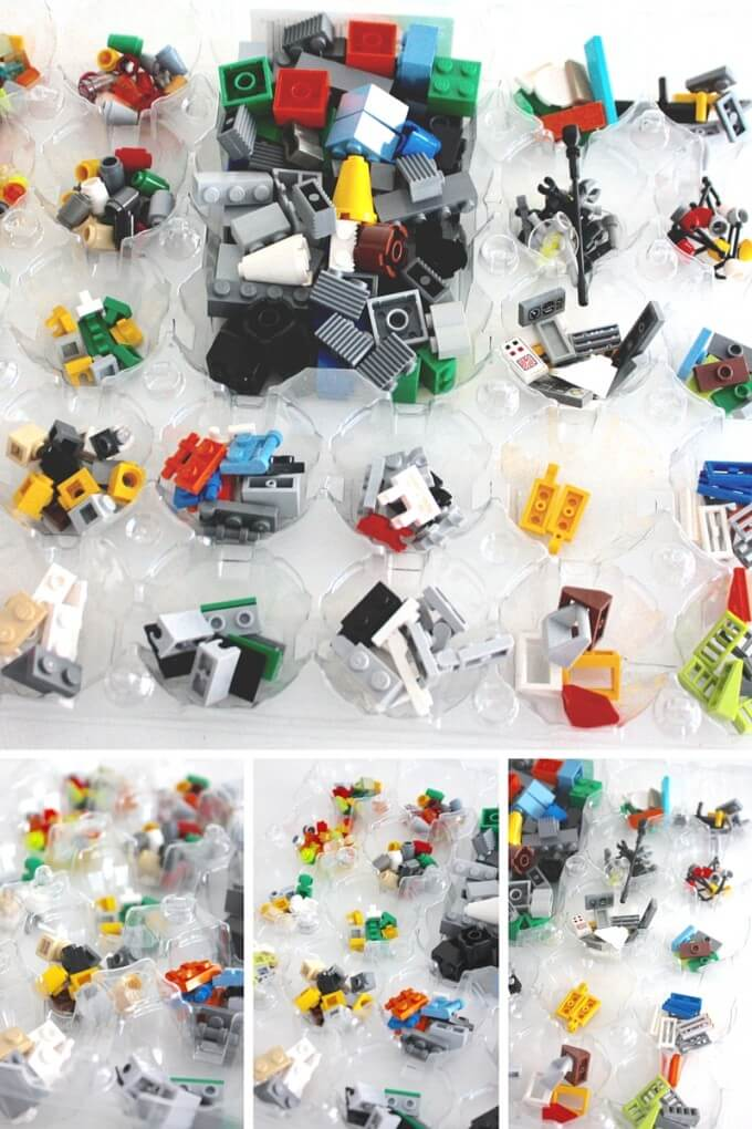 Mini LEGO robots building bricks and pieces in egg carton crate