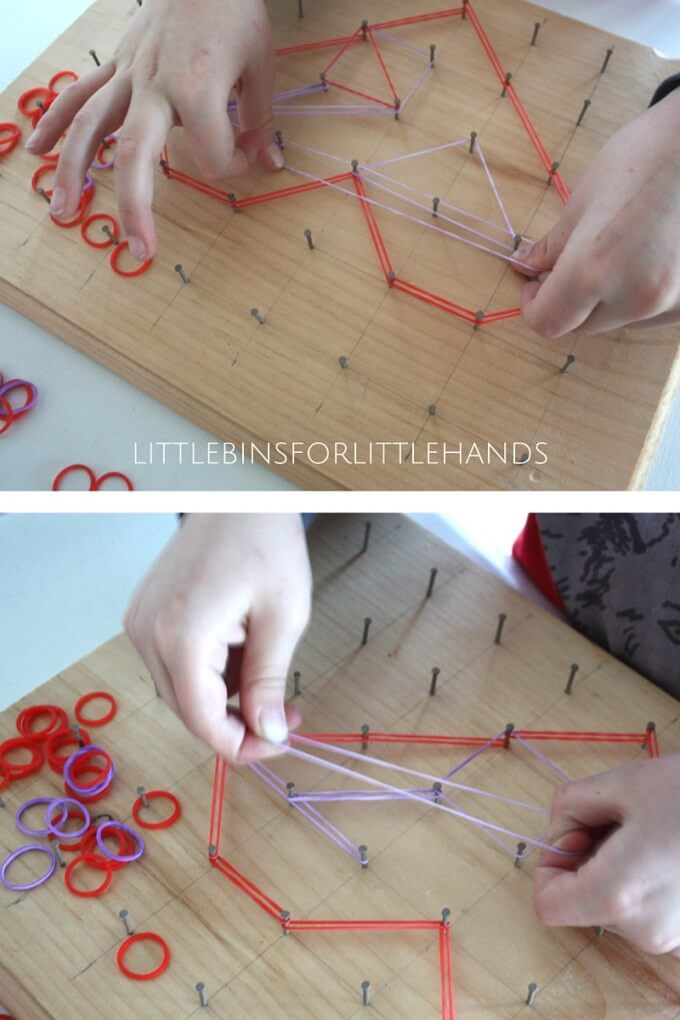 Playing with a heart geoboard for a Valentines Day math activity