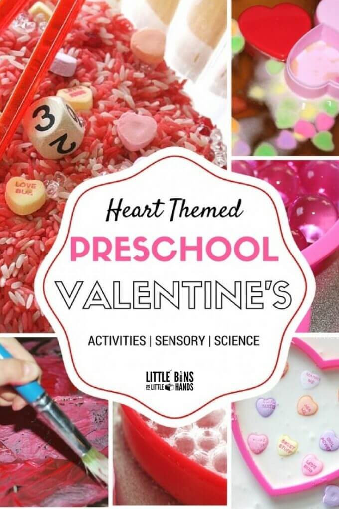 Heart themed preschool Valentines activities for science, math, sensory, and fine motor play. Fun and simple Valentine's Day activities for kids in preschool and kindergarten.