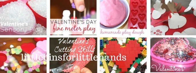 Preschool Valentine's Day activities for art, science, sensory, and fine motor early learning
