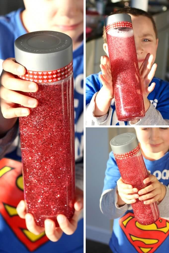 Shaking Valentines sensory bottle with VOSS plastic bottle