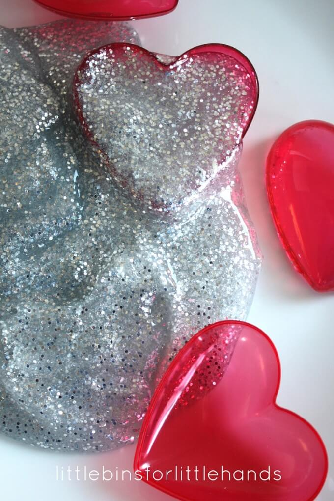 Silver glitter Valentines Day slime for Kids