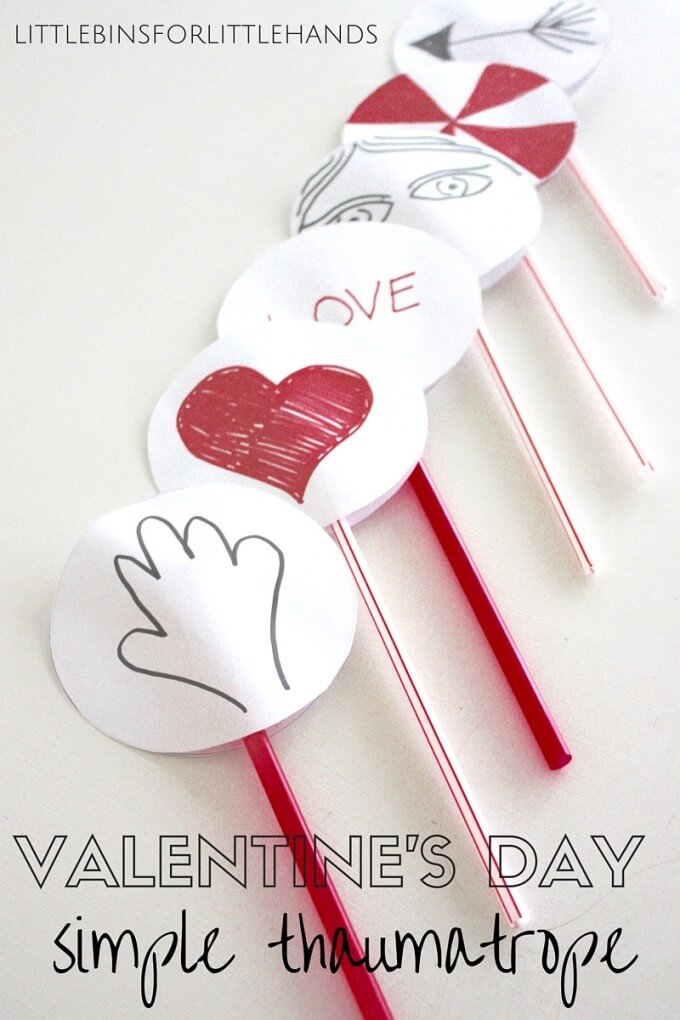 Simple Paper Valentines Thaumatropes for STEAM