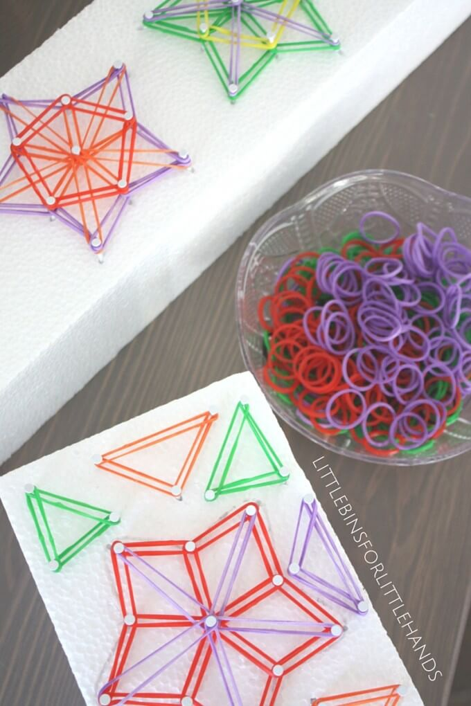 Star shaped geoboard made on a piece of styrofoam and loom bands for STEAM activity