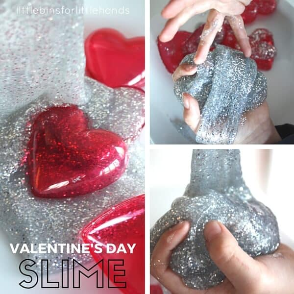 Metallic silver glitter Valentines Day slime recipe