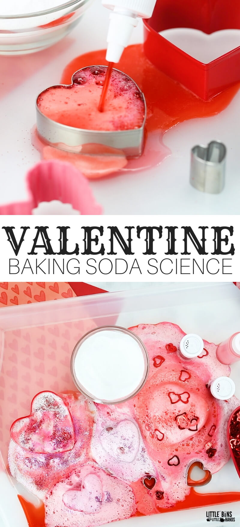 Valentine Baking Soda and Vinegar Experiment for kIds Chemistry and Valentines Day activities