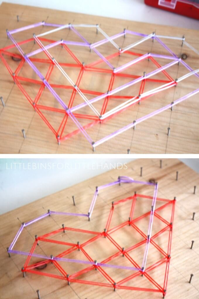 Valentines Day Heart Geoboard Math STEM Activity