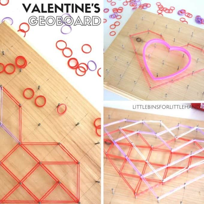 Valentine's Day Heart Geoboard STEM math Activity