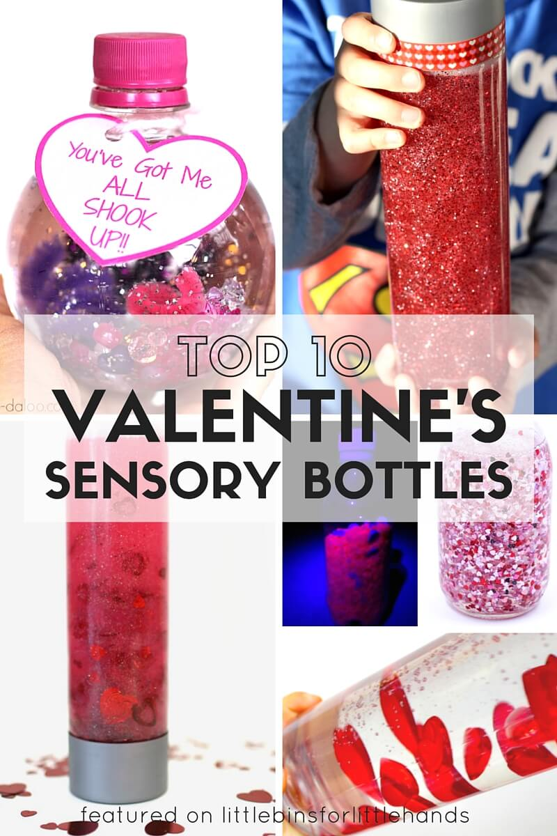 valentines sensory bottles and calm down jars for kids