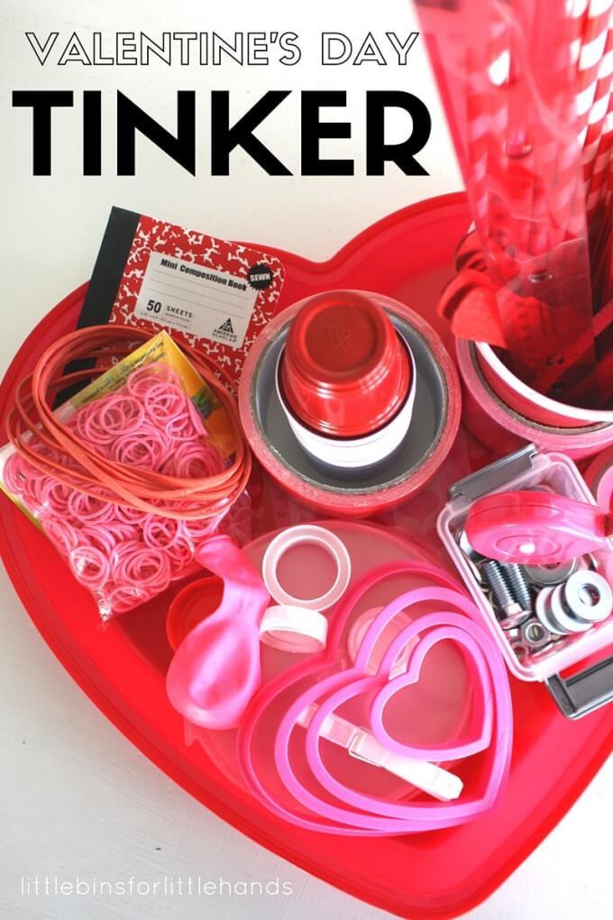 Valentines Day Tinker Tray STEM Activity for Kids