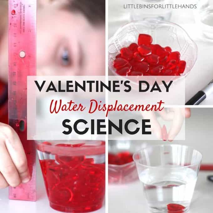 Valentines Day Water Displacement Science Experiment Activity Kids Holiday STEM