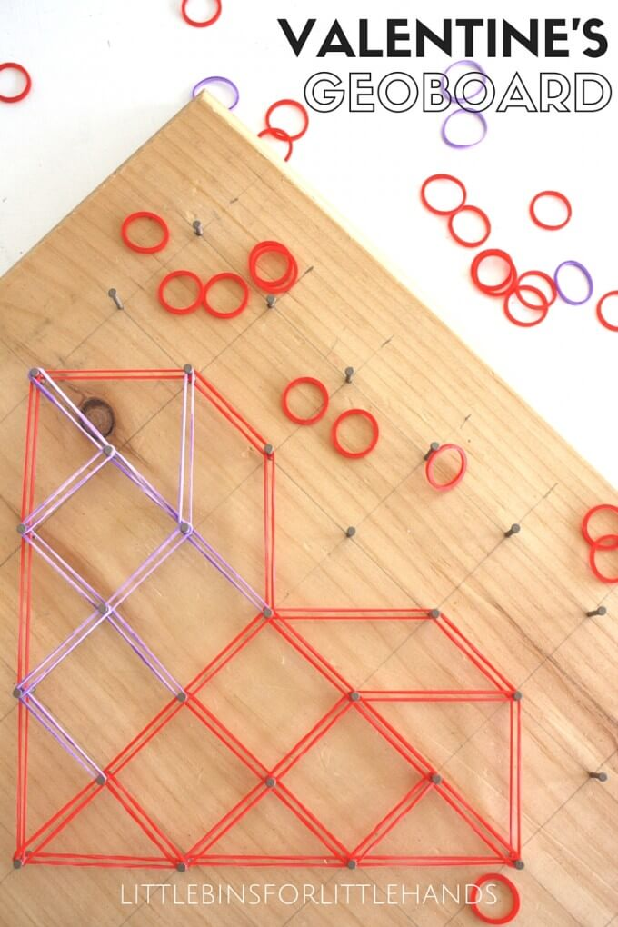 Valentine's Day heart geoboard math and STEM activity for kids