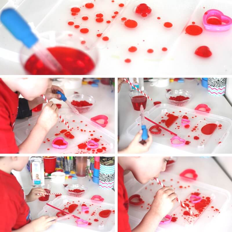 Valentines Oil and Water Science Play