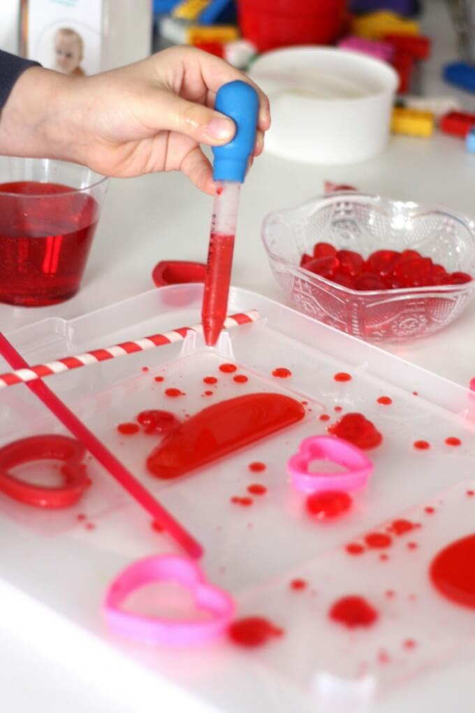Valentines Oil and Water Science with Eyedropper