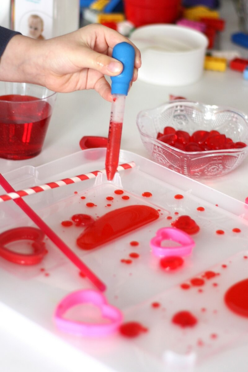 Valentines Oil And Water Science Density Experiment