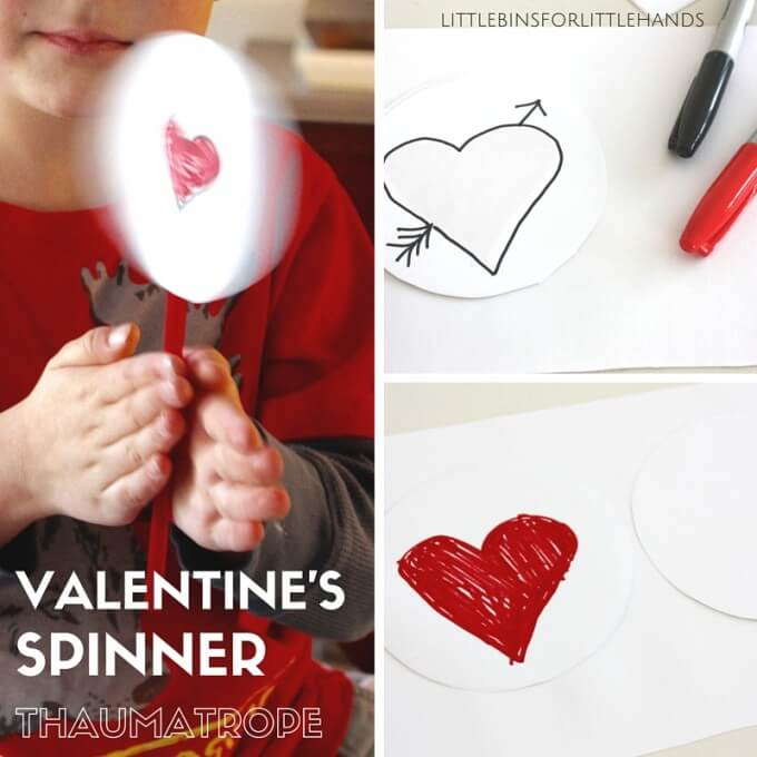 Valentines Thaumatrope paper Spinner Toy